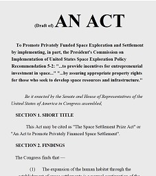 Draft of Space Settlement Prize Act